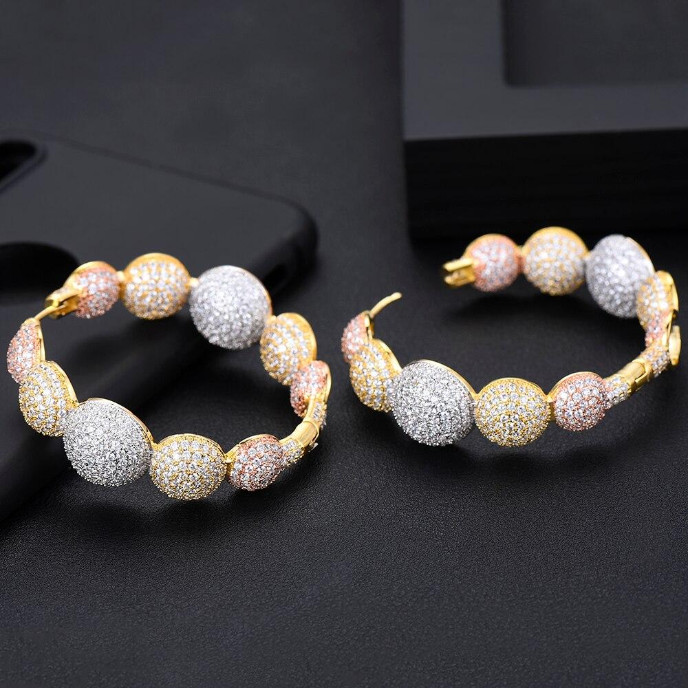 GODKI Luxury Disco Ball Cubic Zircon Statement Big Hoop Earrings For Women Wedding DUBAI Bridal Square