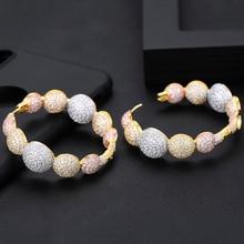 GODKI Luxury Disco Ball Cubic Zircon Statement Big Hoop Earrings For Women Wedding DUBAI Bridal Square Circle Hoop Earrings 2019