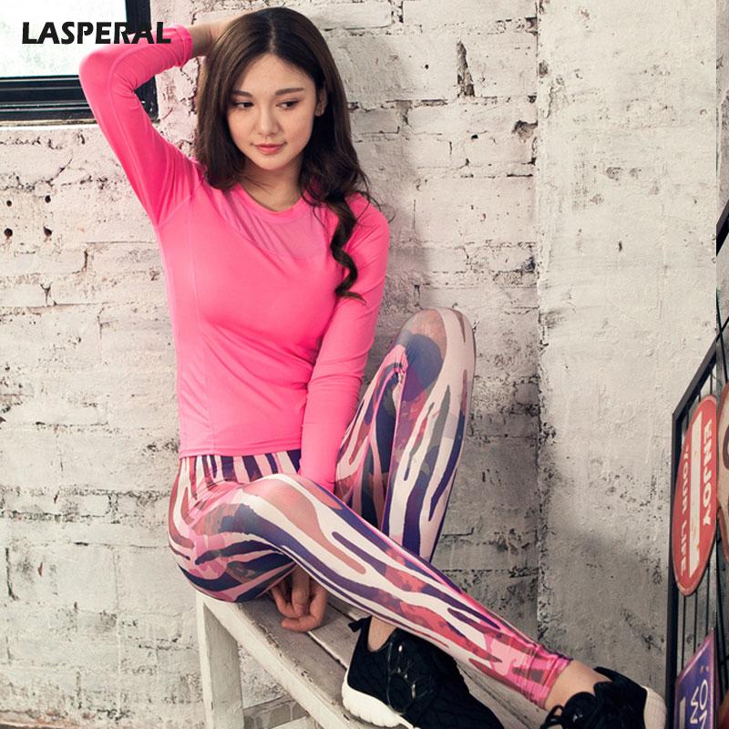 ФОТО LASPERAL Women Yoga Sports Set Long Sleeve Tops T-shirt +Fitness Gym Running Skinny Leggings Pants Sportwear Tracksuit