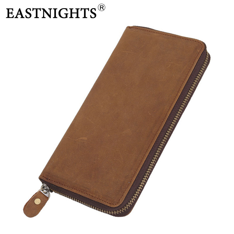 EASTNIGHTS 2016 New retro leather wallet cowhide genuine  vintage men mens purse TW1369