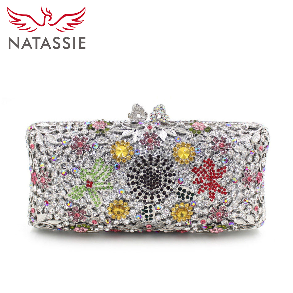 ФОТО NATASSIE Mini Luxury Crystal Bags Women Wedding Clutch Bag Lady Evening Bag With Flower Gold Silver Free Shipping L2043