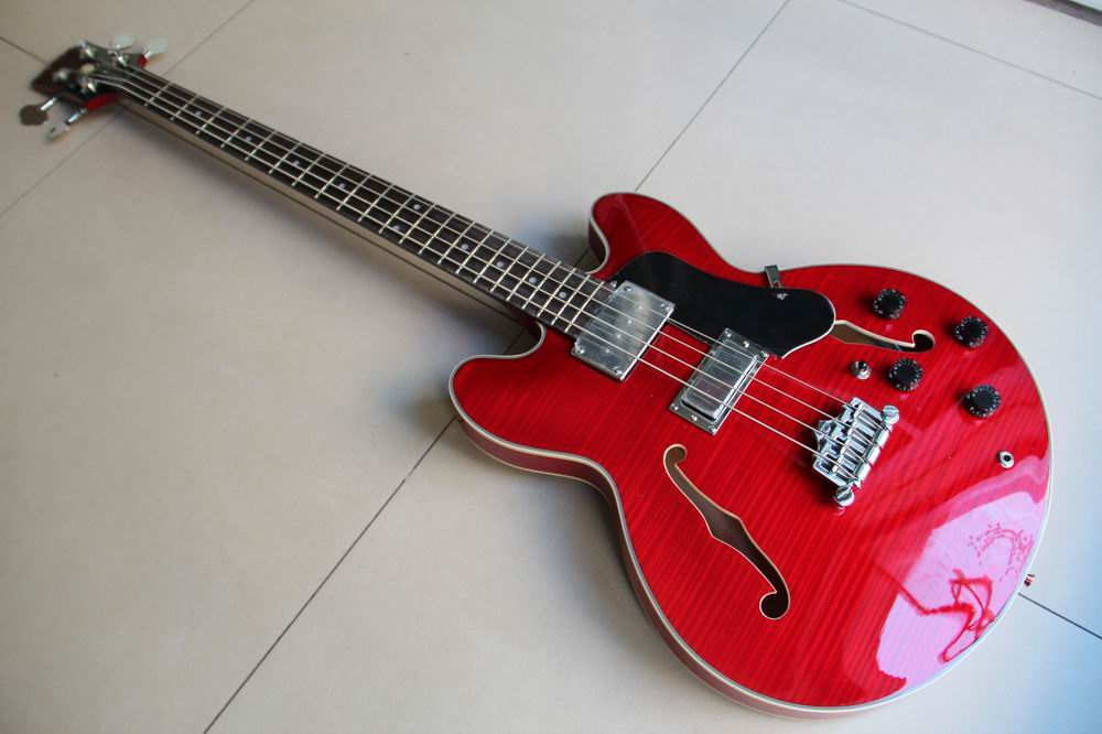 New Arrival ES 335 Model 4 string electric bass guitar semi hollow In Cherry Red 111120 wholeslale dave grohl dg335 es 335 6 string electric guitar with great logo es 335 in white 100913