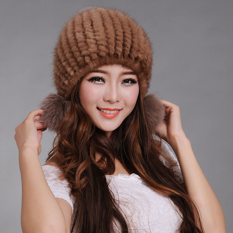 women fur cap with fox fur pom pom top  Real mink fur hats for winter 2016 new sale high quality luxury female knitted beanies пижама infinity kids infinity kids in019egxup02