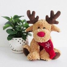 Candice guo plush toy stuffed doll cartoon animal children baby birthday gift christmas red nose snow scarf ELK deer present 1pc