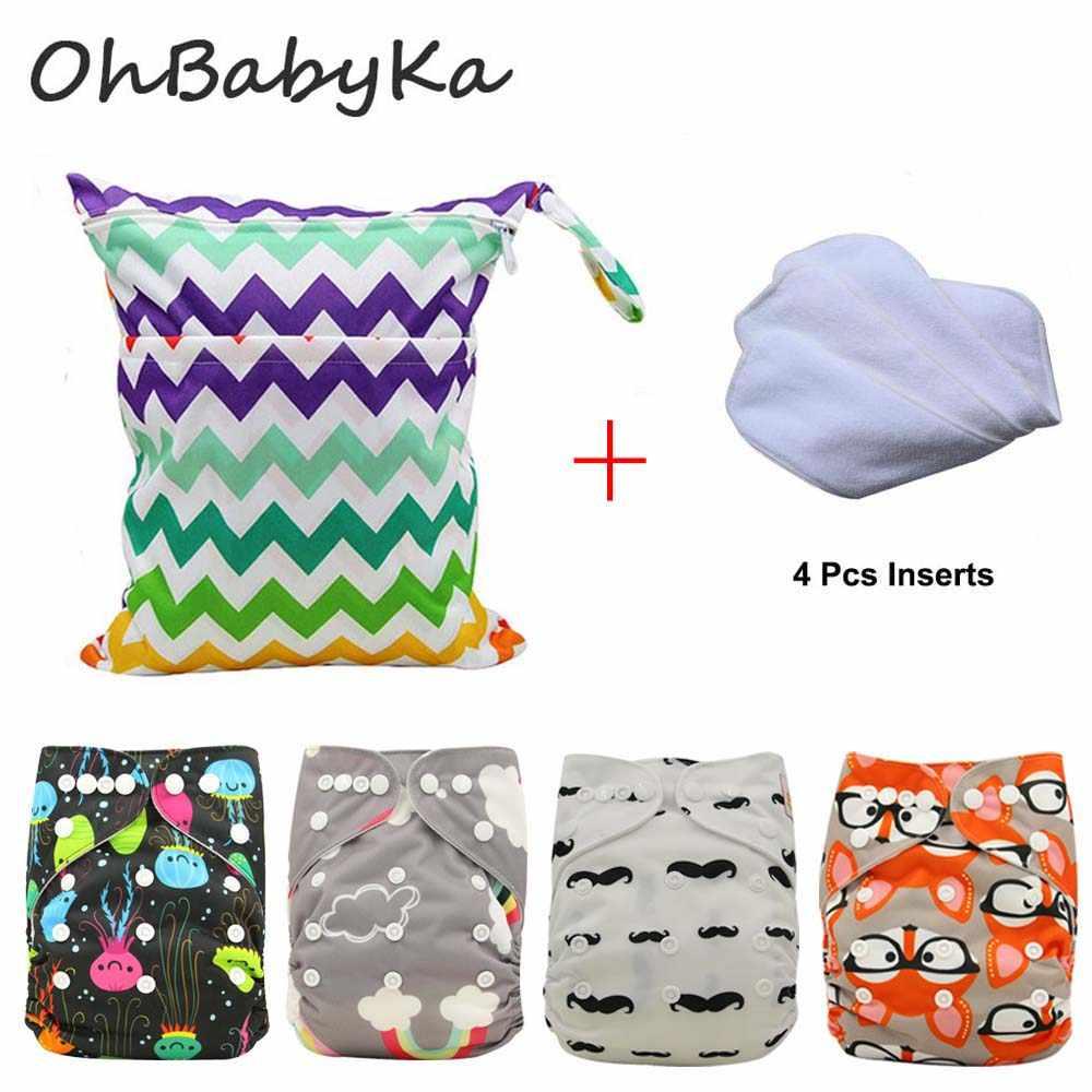 c25f45baab4c Ohbabyka Новорожденный Ткань Пеленки Детские многоразовые карманные  Подгузники Водонепроницаемый Детские Подгузники 4 шт. + 4