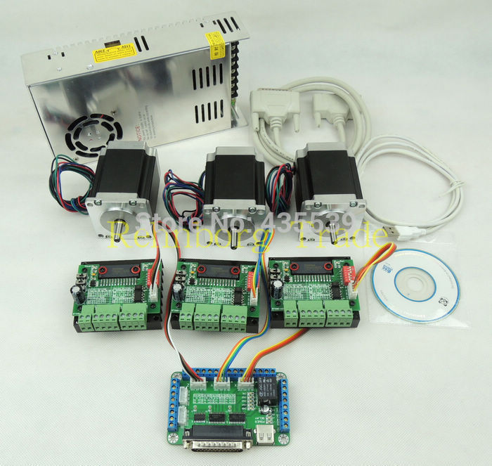CNC Router 3 Axis kit, 3pcs TB6560 single axis stepper motor driver+breakout board +3pcs nema23 motor +one power supply cnc router 3 axis kit 3 axis tb6560 motor driver controller board for nema23 stepper motor