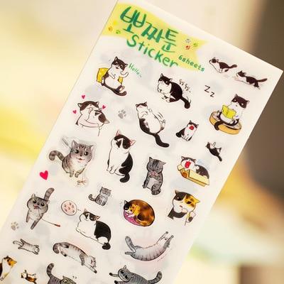 6 pcs/lot Novelty Cats Cartoon Animals Sticker PVC Cartoon Stickers Diary Sticker Scrapbook Decoration PVC Stationery Stickers