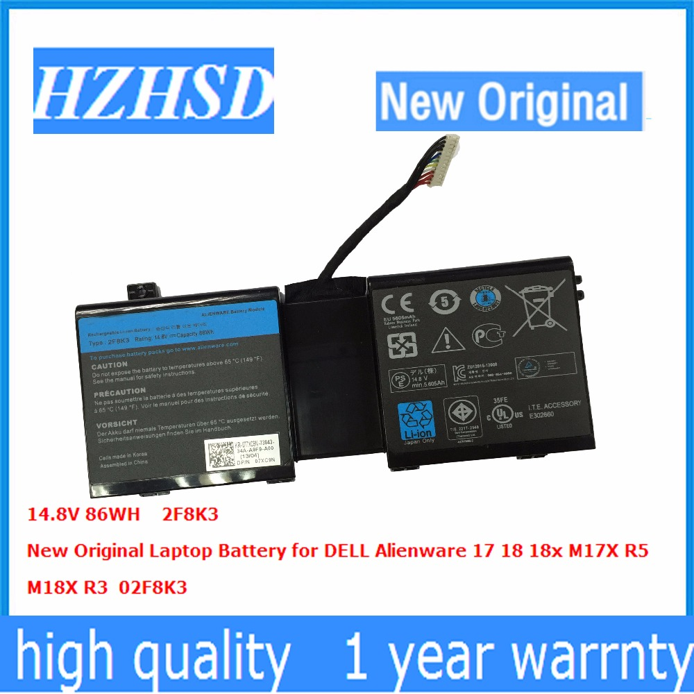 14.8V 86WH New Original 2F8K3 Laptop Battery for DELL Alienware 17 18 18x M17X R5 M18X R3 02F8K3 original for dell alienware m17xr5 m17x r5 latop motherboard cn 05rw0m 05rw0m vas00 02 la 9331p mainboard 100