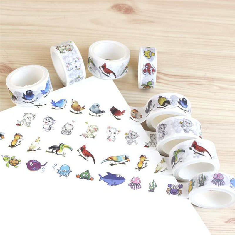 1 Pc / Box 2cm * 5m Animal Hand Account Diy And Paper Tape Decoration Scraping Masking Tape Kawaii Planner Stationery Tape
