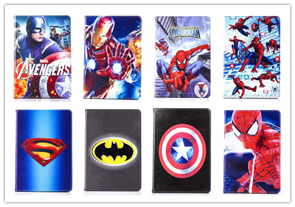 For Samsung Galaxy Tab A 8.0 T350 T351 Tablet Covers New Cartoon Batman Spiderman Captain America PU Leather Case Cover Stand