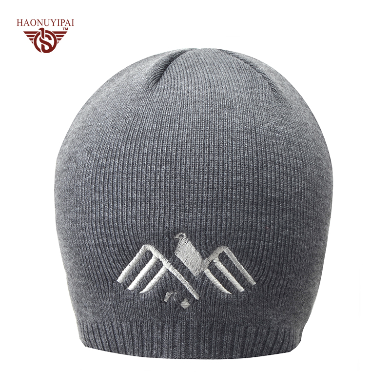 New 2016 Knitted Gorro Touca Men Winter Hats Autumn Sport Beanie Warm skullies Casual Caps Black Gray Navy Blue Color Hat CX021