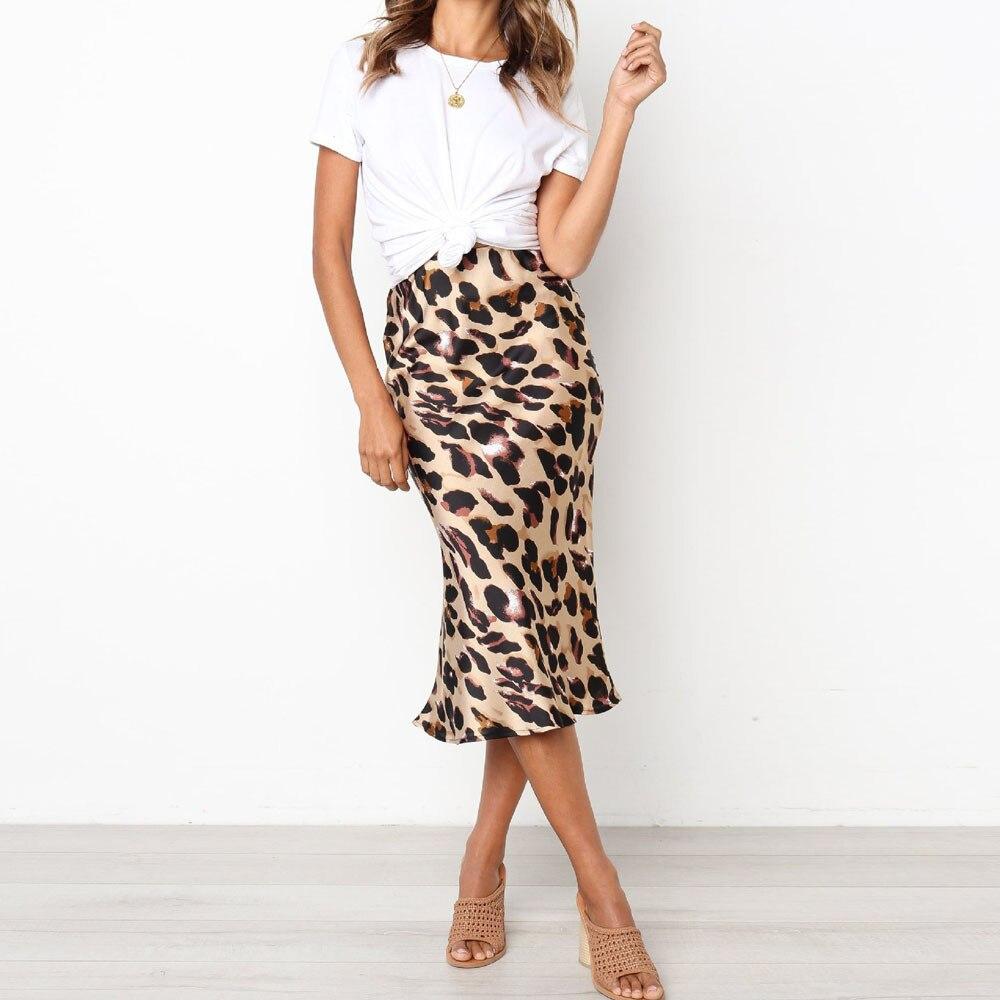 2020 woman skirts elegant Casual Retro High Waist Leopard Printing Evening Party Long Skirt rokken vrouwen knielengte #VC30