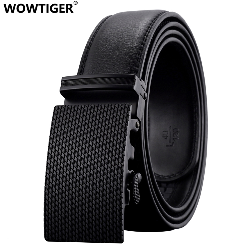 WOWTIGER New Fashion brand Automatic buckle men belt belt Aloi buckle Genuine Leather Belt Luxury for men
