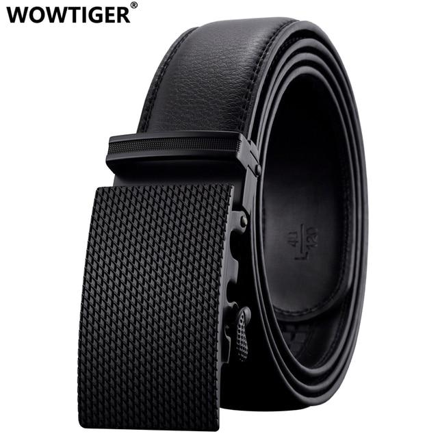 WOWTIGER Nouvelle marque De Mode Automatique boucle hommes ceinture Alliage  boucle En Cuir Véritable Ceinture De 752c73388f1