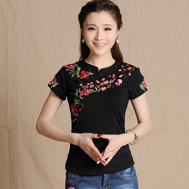 Plus Size New Women Vintage Stand Collar Flowers Embroidery Short Sleeve T Shirt Fashion Summer 2016 Casual Tees