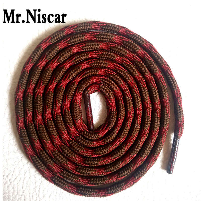 Mr.Niscar 2 Pair Round Shoe Laces Red Brown Non-slip Outdoor Sports Hiking Sneaker Shoelaces Skate Boots Bootlace String Rope jup 1 pair outdoor sports casual multicolor bumps round shoelace hiking slip rope shoe laces sneakers shoelaces skate boot laces