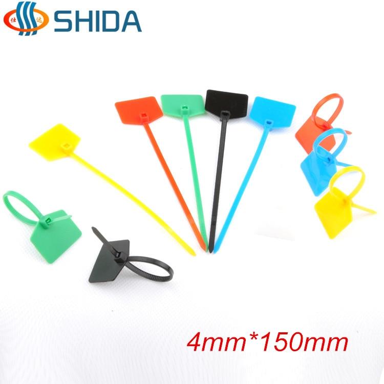 """100 Pcs 4/"""" Nylon Plastic Cable Marker Label Zip Ties Wire Cord Organizer White"""