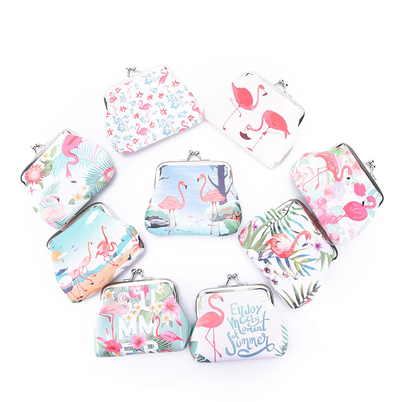 1PCS Sweet Flamingo Coin Purses Women Small Wallet Ladies Change Purse Child Girl Mini Coin Purses 1pcs vintage butterfly pattern leather coin purses zipper zero wallet child girl boy women purse coin bag key packet drop ship