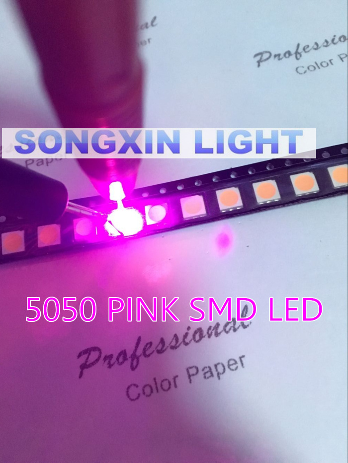 Diodes 100pcs/lot Smd 5050 Pink Smd Led Diode 5050 Smd Smt Pink Led Plcc-6 3-chips 5.0*5.0mm 60ma-0.2w Super Bright Best Quality New Bright And Translucent In Appearance Active Components