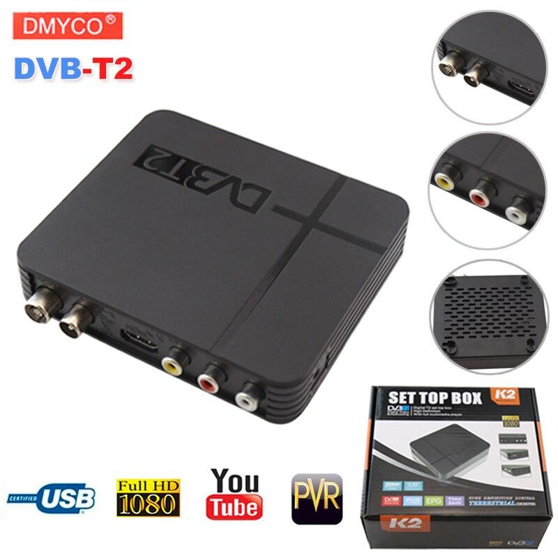 DVB-T2 digital terrestre TV satélite señal decodificador receptor TV Box HD 1080 p PVR dvb t2 Mini Set Top Box venta caliente rusa
