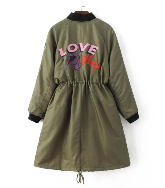 New Women Winter Army Green Embroidery Down Coat Parkas Warm Drawstring Long Coat Warm Wadded Jacket Down Coats