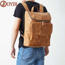цена на JOYIR Men Backpacks Genuine Leather Men's Travel Bag Fashion Man Backpack Leather Business Bag Male 14