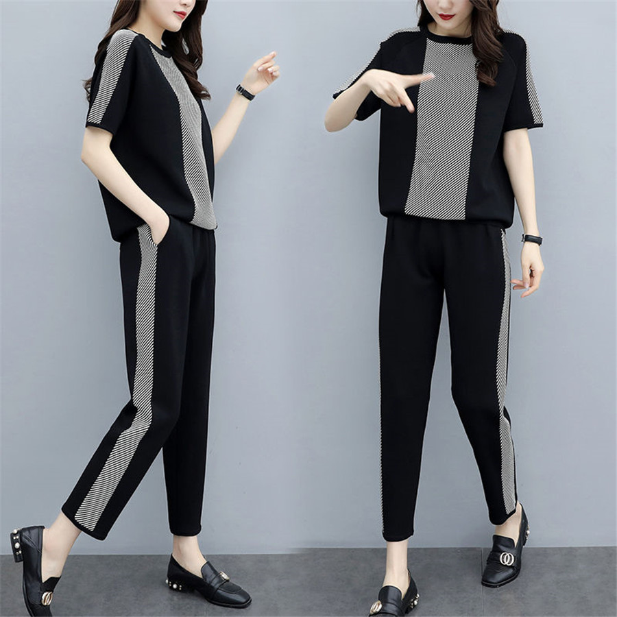 2 Piece Set Women Tracksuits Sweatsuit O-Neck Short Sleeve Sweatshirt+Pants Sporting Suit Female Sportswear Outfit