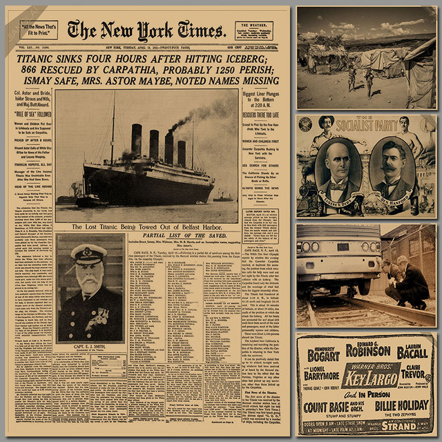 New York Times / Historic Moment / Leather Old Newspaper System Class / Bar  Decorative Painting