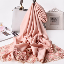 Winter Scarf Women Thicken Warm Scarves pashmina pure 100% Wool Cashmere hijabs Shawl Female Wrap Pashmina Tassels Solid