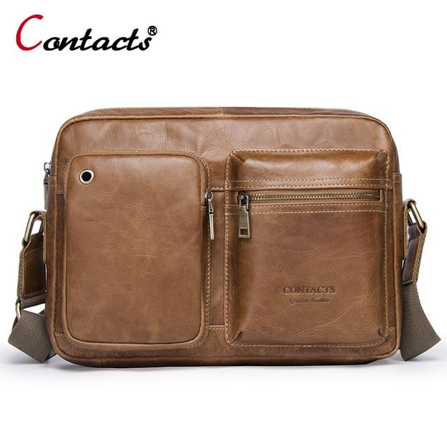 Contact s Men s Genuine Leather Bag Men s Messenger Bags Shoulder Handbag Crossbody Bags For