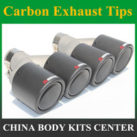 Car Styling 2pcs Inlet63mm outlet101mm Akrapovic carbon exhaust tip double for Audi muffler exhaust pipe(model63 101)