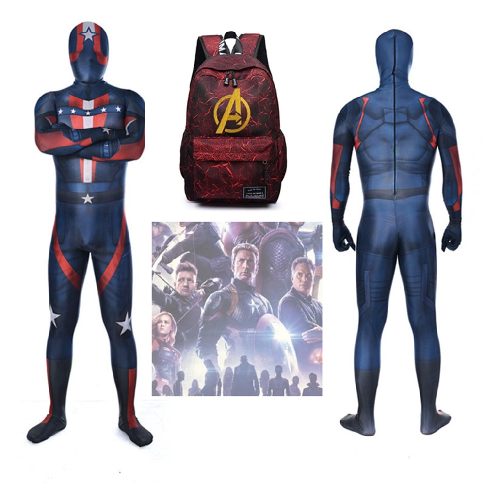 Avengers Endgame Quantum Realm Advanced Tech Kostuum Cosplay Costume 3D Print Fullbody Captain America Suit Kids Adult Custom
