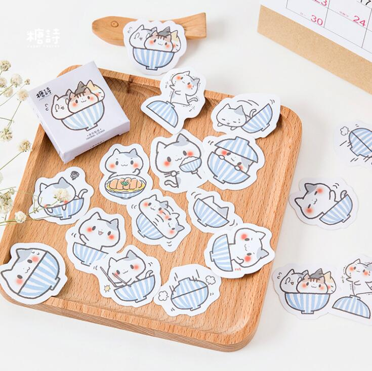A Bowl Of Cat Label Stickers Set Decorative Stationery Craft Stickers Scrapbooking DIY Diary Album Stick Label a cat a hat and a piece of string