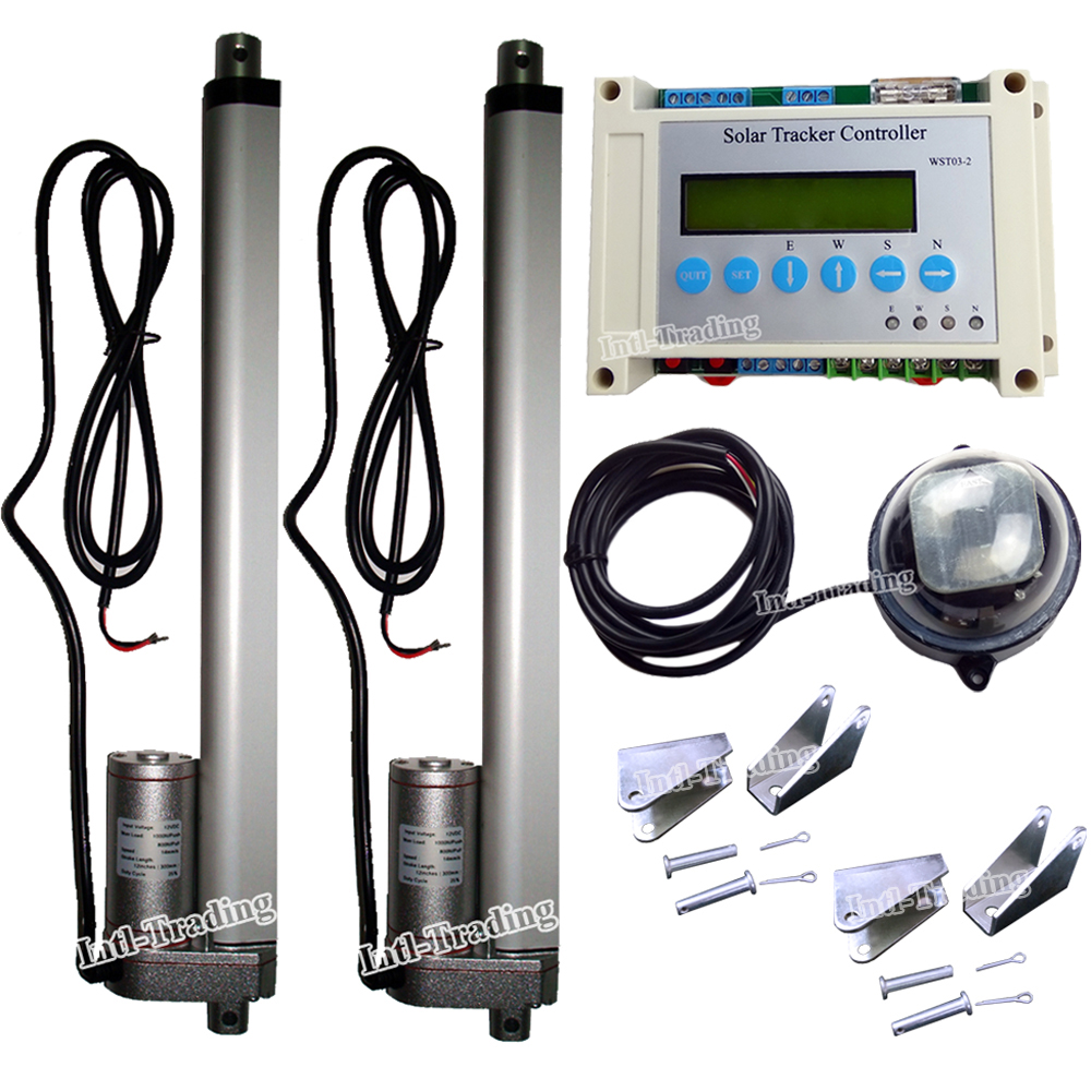 Complete Dual Axis Solar Tracking Kit 212 Linear Actuator Tracker Controller Electronic For Pv Panel Sunlight System In Dc Motor From Home