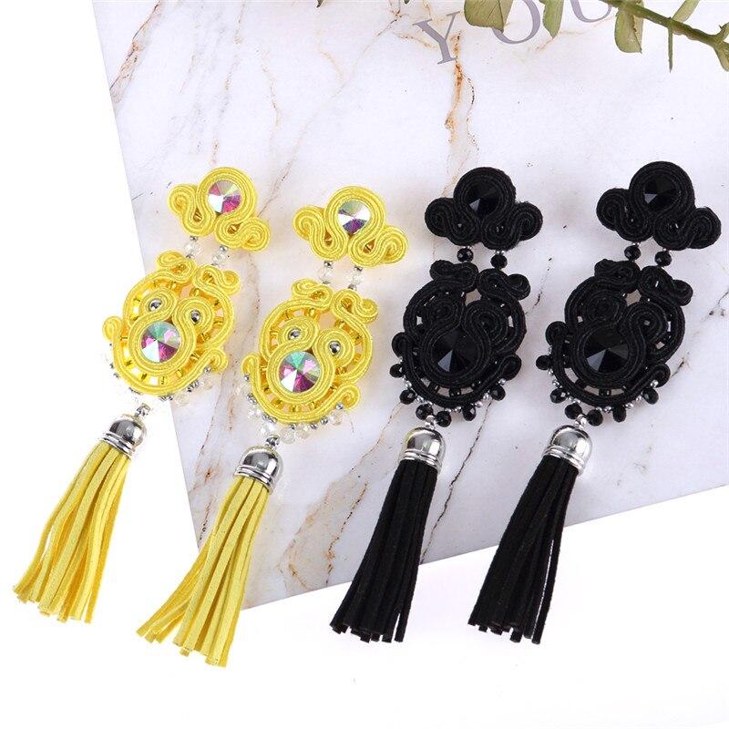 KPACTA Simplicity Ethnic Tassel Earring Jewelry For Women Rhinestone Soutache Handmade Weaving Drop Earring Praty Gift Oorbellen in Drop Earrings from Jewelry Accessories