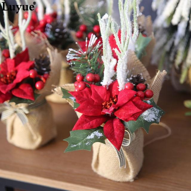 Luyue christmas flower bonsai silk artificial flower bouquet with luyue christmas flower bonsai silk artificial flower bouquet with vase christmas decor fake simulation flower plant mightylinksfo