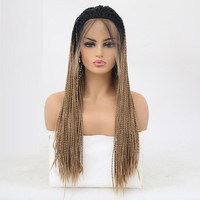 Rongduoyi Ombre Color Synthetic Braided Lace Front Wigs For Women Heat Resistant Fiber Hair Wigs Two Tone Micro Braid Wig