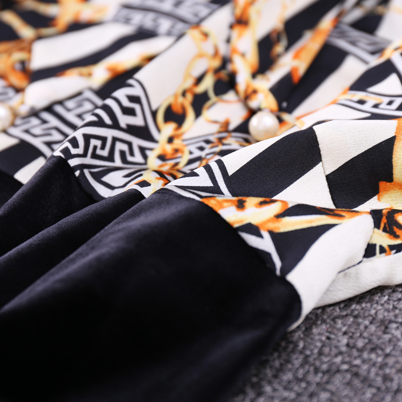 Naturale Arrivi Di Ginocchio L Stampa 2018 Black Manica Casual Completa Vestito Nuovi Linea Donne Appliques Inverno 3xl Samgpilee Dell'arco lunghezza Modo Una Del gwq6x05w