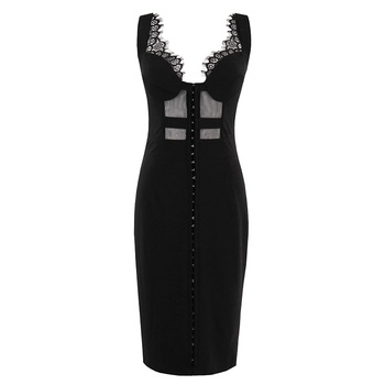 Sishot 2018 Summer Gothic Dress Female Party Dress Solid Black Dresses Sexy Bodycon Hollow Out Sleeveless Retro Sheath Dresses