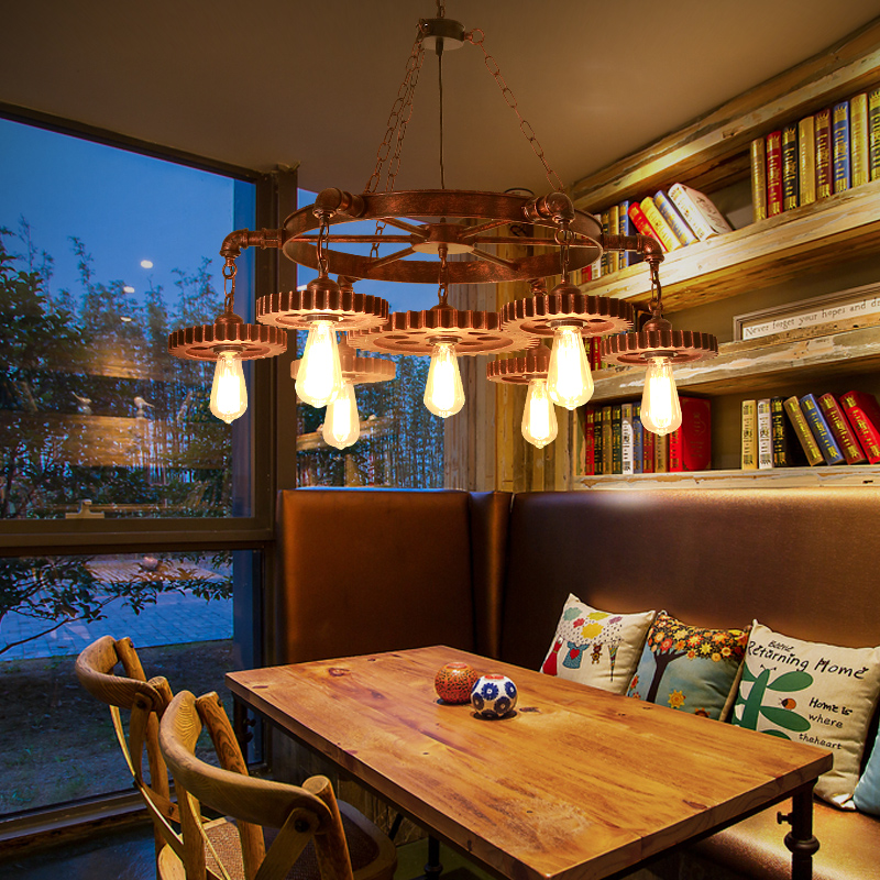 Loft industrial wind Pendant Lights creative gear mesh coffee personality restaurant coffee shop bar retro iron Pendant lamps milton the collected poems