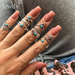 10 PCS/Set Vintage Bohemian Midi Ring Shell Moon Flower Leaf Armor Shield Geometric Knuckle Midi Rings for Women Jewelry Gifts