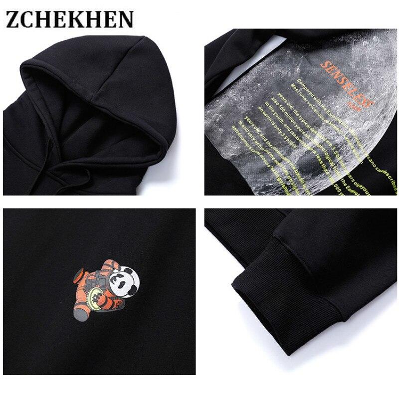 Space Panda Moon Print Fleece Hoodies Sweatshirts Streetwear 2019 Hip Hop Men Fashion Harajuku Casual Hooded Hoodie in Hoodies amp Sweatshirts from Men 39 s Clothing