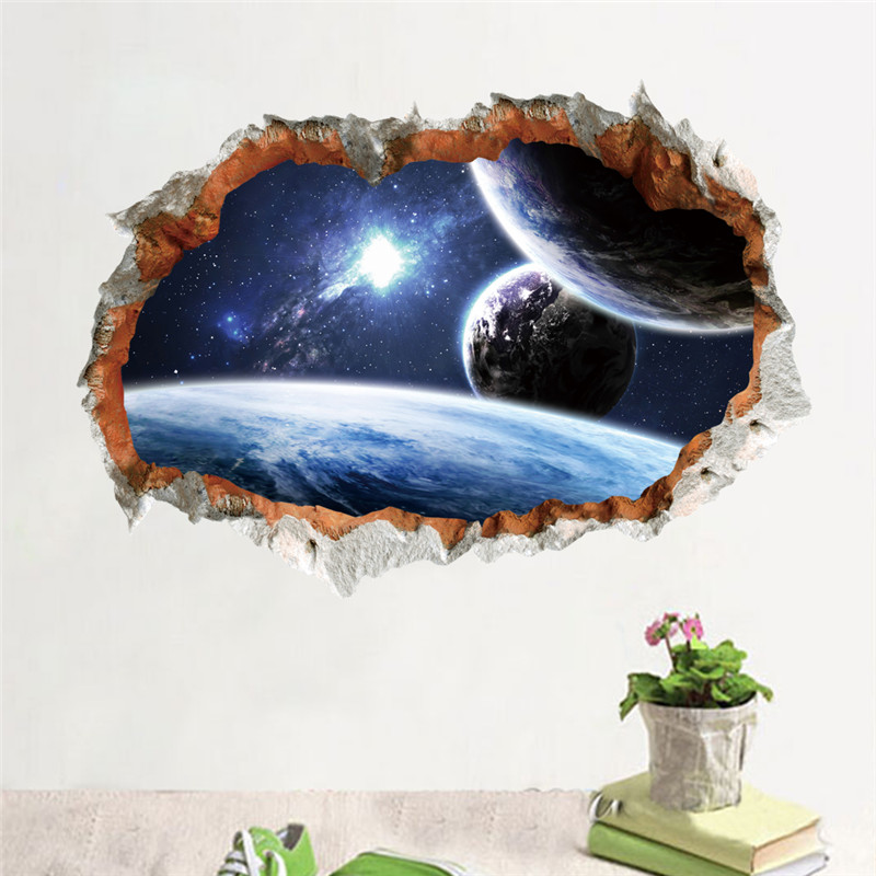 Outer space planet wall sticker 3d effect through wall for Outer space decor