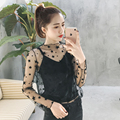 [soonyour] 2017 early spring new fashion sexy Slim star gauze perspective shirt t-shirt velvet sling A00807