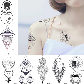 Black Body Art Spaceman UFO Temporary Tattoo Stickers Planets Mountain Forest Lighthouse Rhomboid Tatoos Disposable Fake Tattoo image