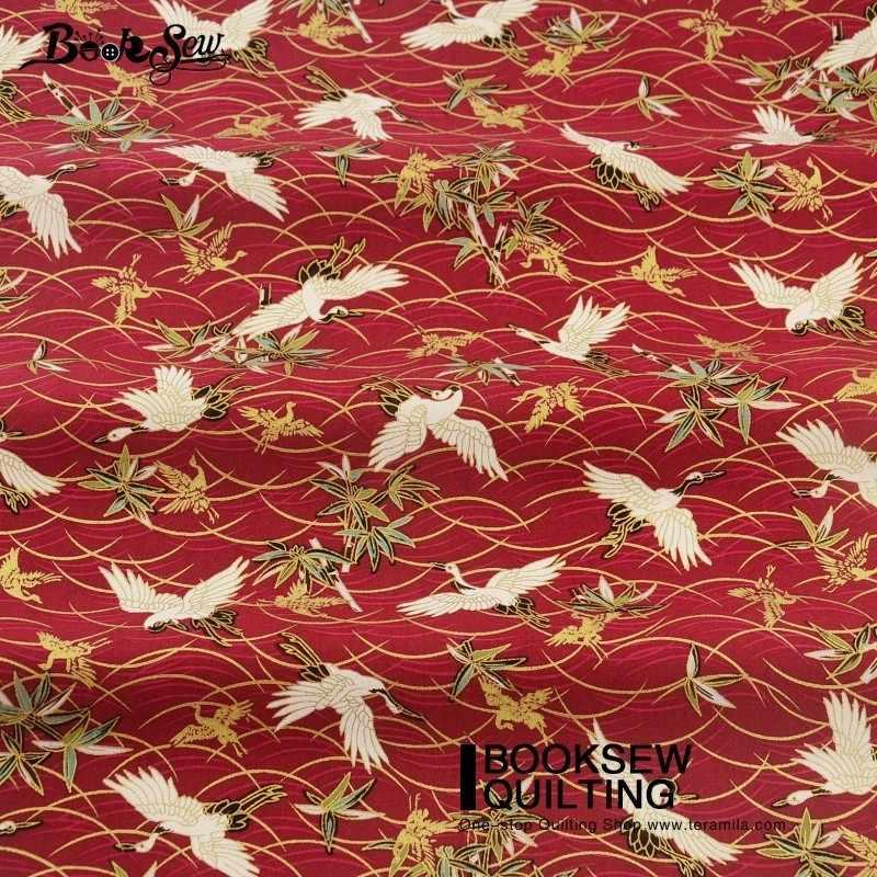 Booksew льняная ткань художественная работа ремесла Высокое качество Очаровательные красные краны Золотая пудра шторы Patchowrk постельные принадлежности украшение дома