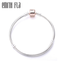 Authentic 925 Sterling Silver Bracelet Rose Gold Buckle Snake Chain Fit Brand European Jewelry DIY
