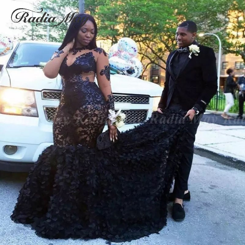 Prom-Dresses African Mermaid Graduation Long-Sleeves Black Plus-Size 3D Floral Illusion