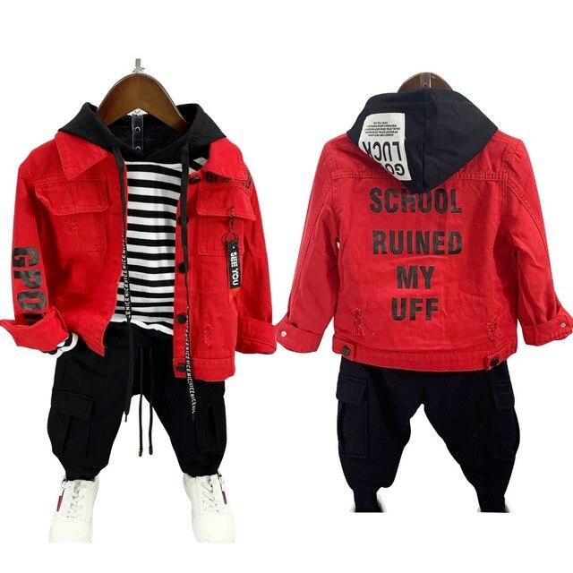buy popular e570a 3012c Frühling Sommer jungen denim jacke baby mantel kinder tops streetwear  fashion kleidung zerrissene zurück brief druck 2 zu 7 jahre