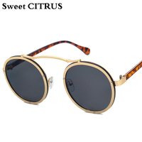 c830955dc3ea5 CITRUS doce Do Vintage Grande Rodada Steampunk Óculos De Sol Dos Homens Da Marca  Designer Oculos
